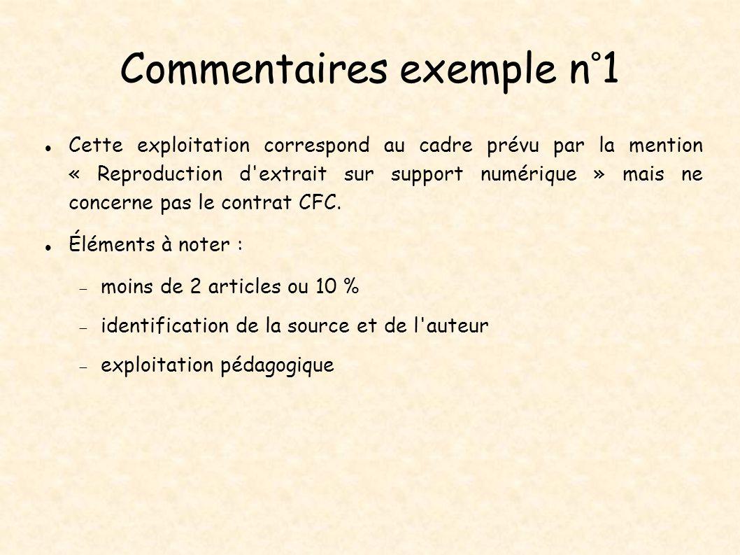 Commentaires exemple n°1 Cette exploitation correspond au cadre prévu par la mention « Reproduction d'extrait sur support numérique » mais ne concerne