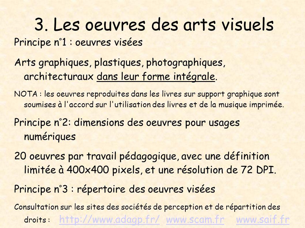 3. Les oeuvres des arts visuels Principe n°1 : oeuvres visées Arts graphiques, plastiques, photographiques, architecturaux dans leur forme intégrale.