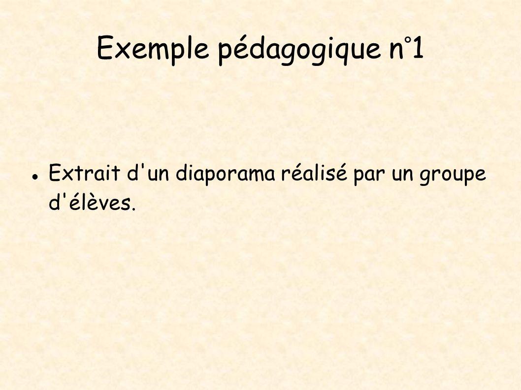 Exemple pédagogique n°1 Extrait d'un diaporama réalisé par un groupe d'élèves.