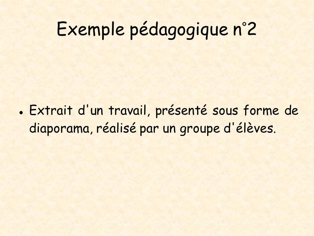 Exemple pédagogique n°2 Extrait d'un travail, présenté sous forme de diaporama, réalisé par un groupe d'élèves.
