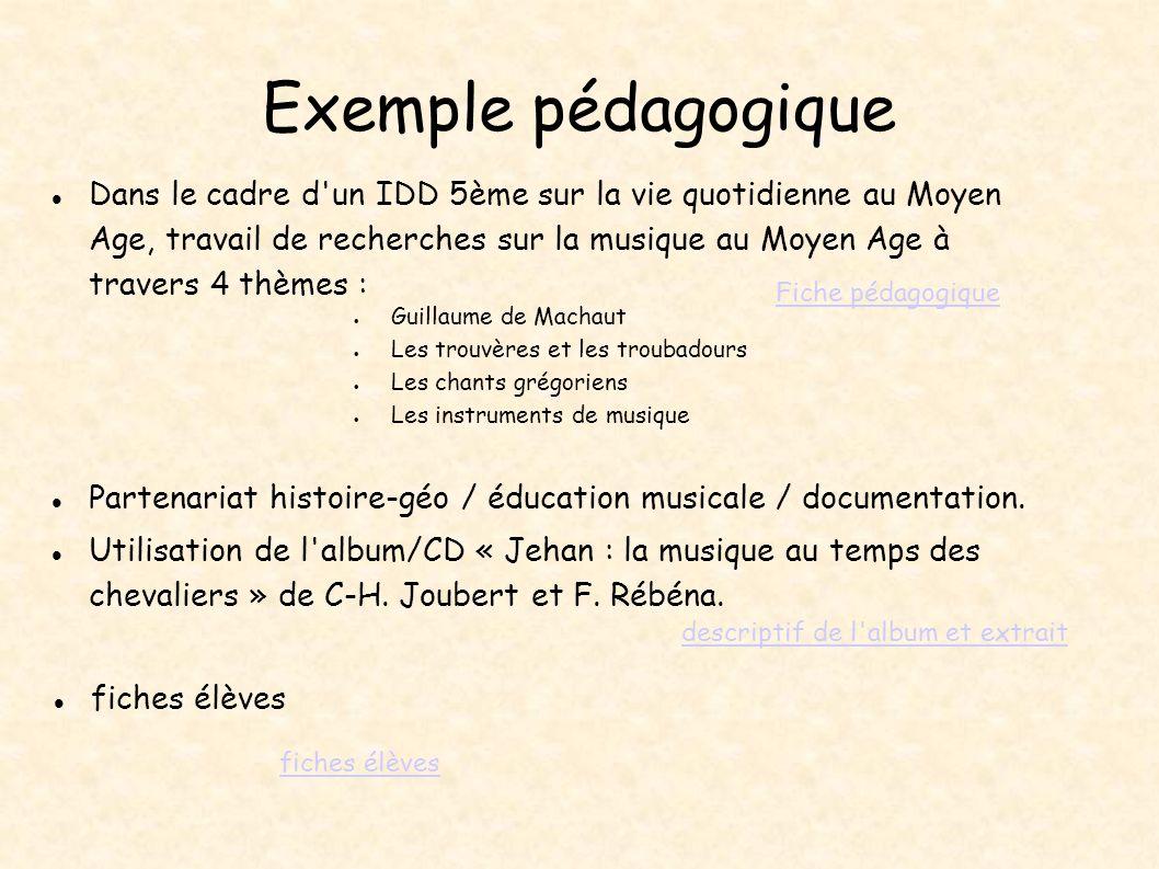 fiches élèves Exemple pédagogique fiches élèves descriptif de l'album et extrait Dans le cadre d'un IDD 5ème sur la vie quotidienne au Moyen Age, trav