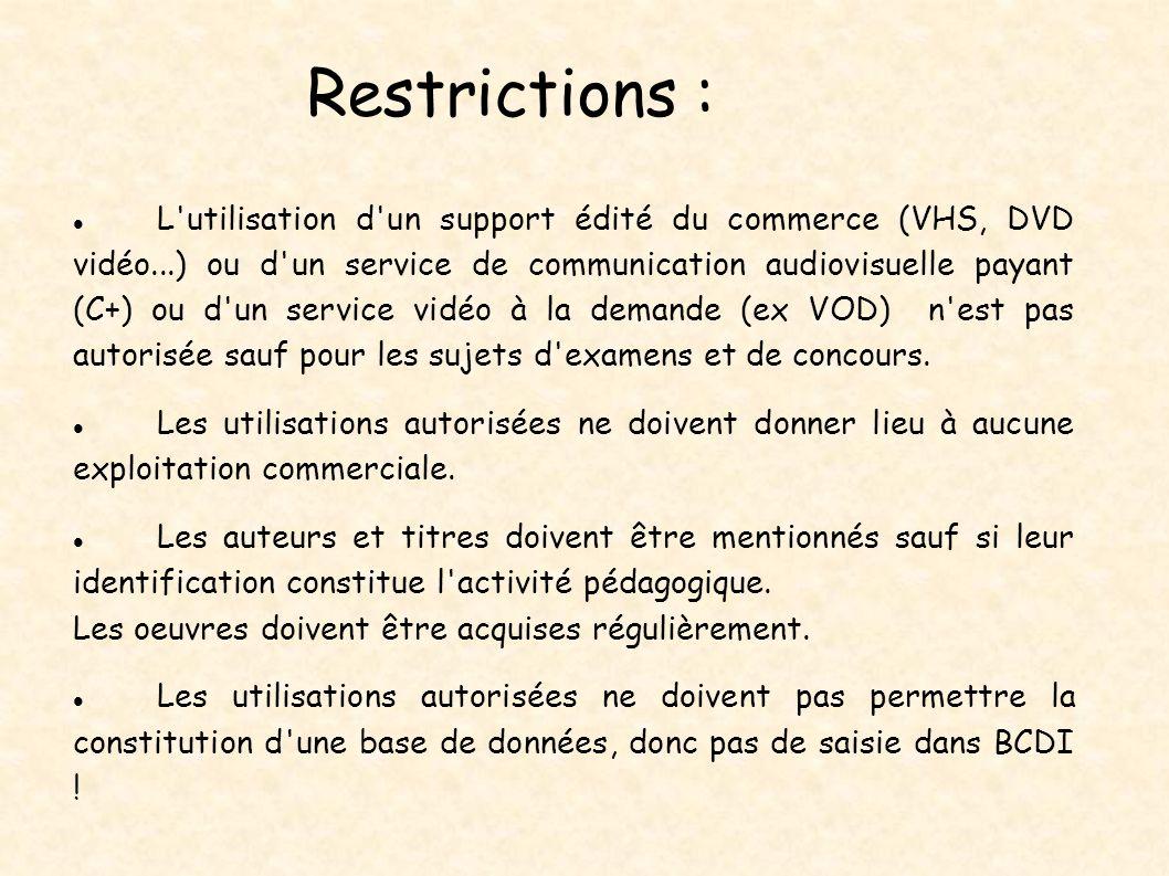 Restrictions : L'utilisation d'un support édité du commerce (VHS, DVD vidéo...) ou d'un service de communication audiovisuelle payant (C+) ou d'un ser