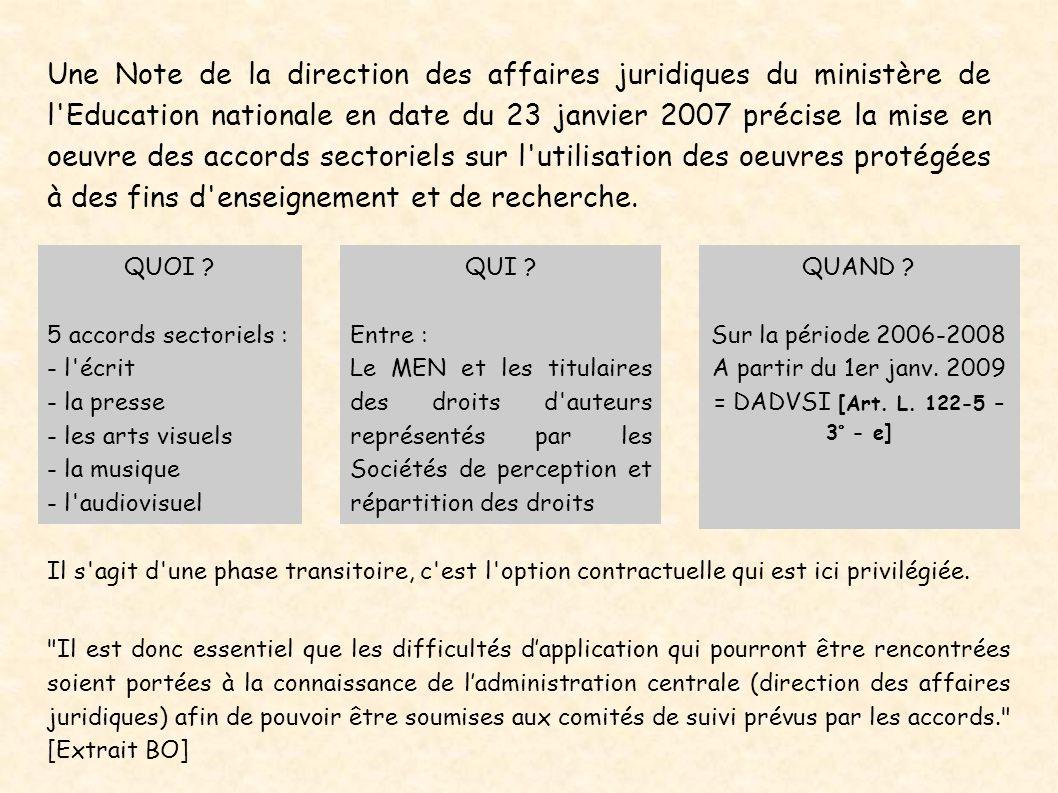 Une Note de la direction des affaires juridiques du ministère de l'Education nationale en date du 23 janvier 2007 précise la mise en oeuvre des accord