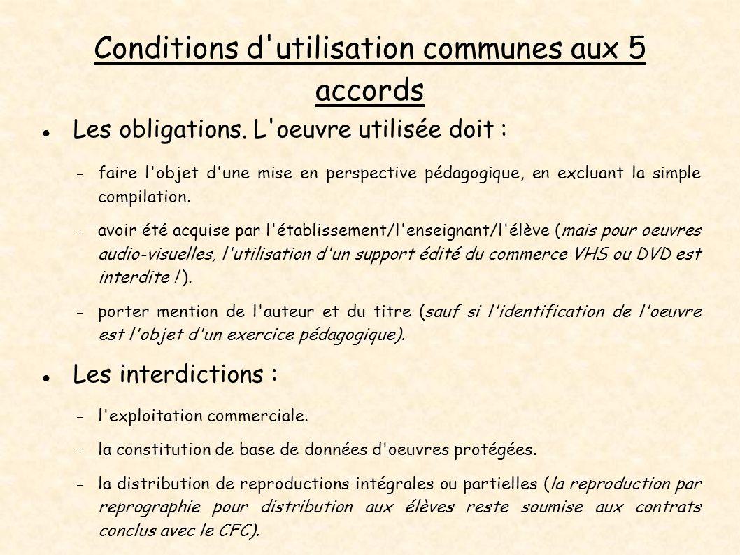 Conditions d'utilisation communes aux 5 accords Les obligations. L'oeuvre utilisée doit : faire l'objet d'une mise en perspective pédagogique, en excl