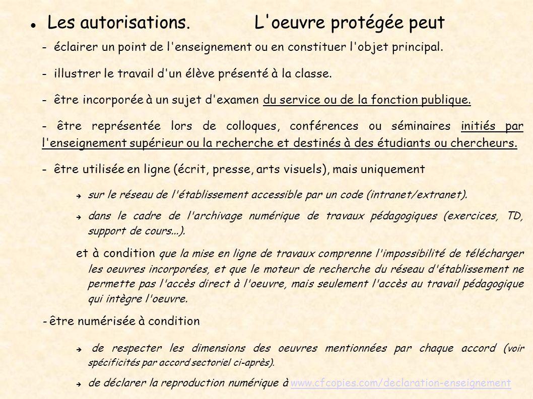 Les autorisations. L'oeuvre protégée peut - éclairer un point de l'enseignement ou en constituer l'objet principal. - illustrer le travail d'un élève