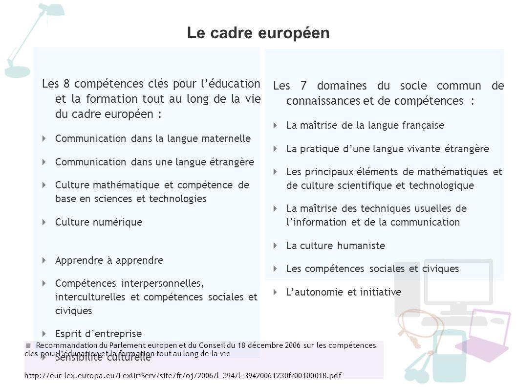 Le socle commun de connaissances et de compétences Des grilles de référence encore peu harmonisées Sous le terme de compétence : une grande diversité A la lecture du référentiel français, B.