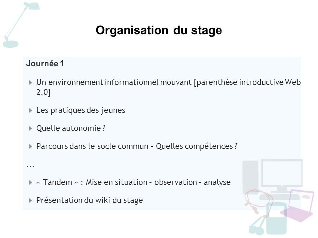 Organisation du stage Journée 2 Retour sur la pratique du Wiki Panorama : outils de communication – outils de publication La fabrique de l information : enjeux citoyens...