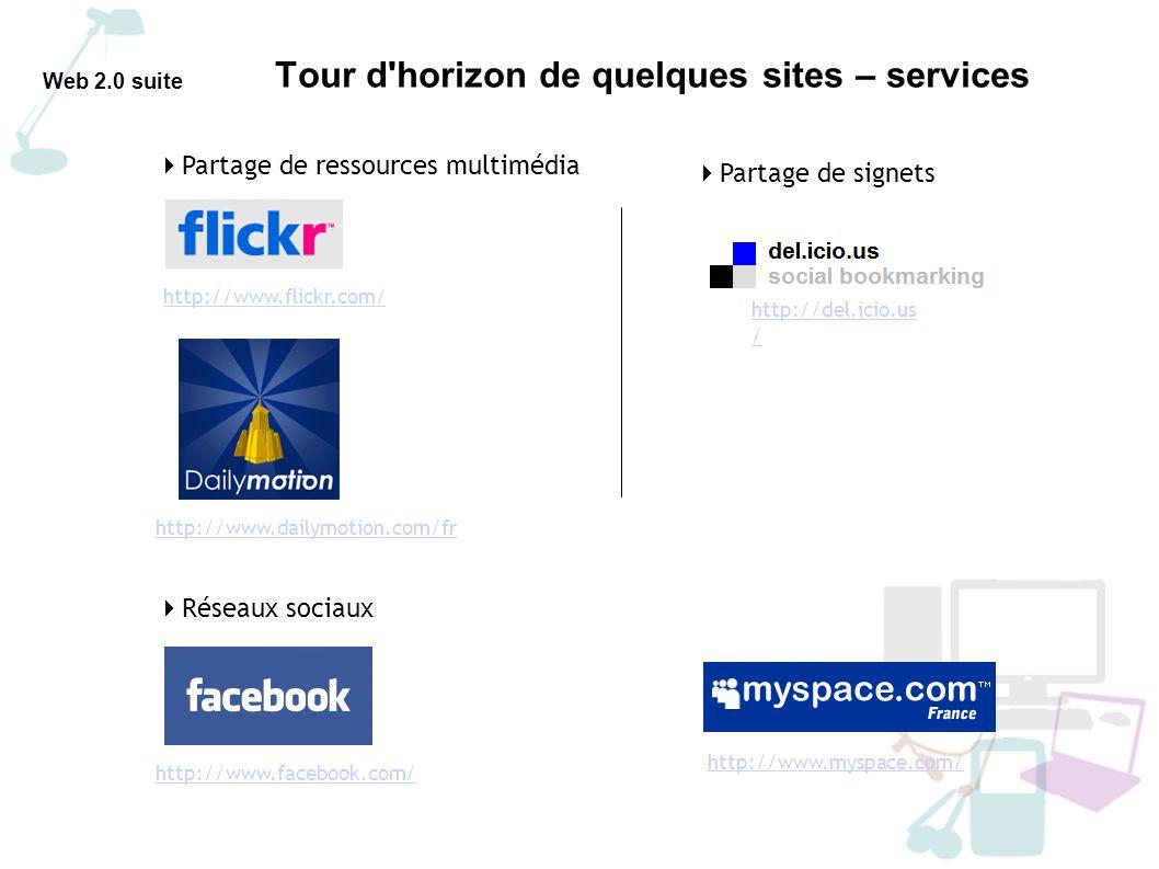 Tour d horizon de quelques sites – services Web 2.0 suite Personnaliser une page d accueil web avec Netvibes - Concept français du portail internet personnel - Nécessite une inscription personnelle - Un espace privé de veille - en dev.