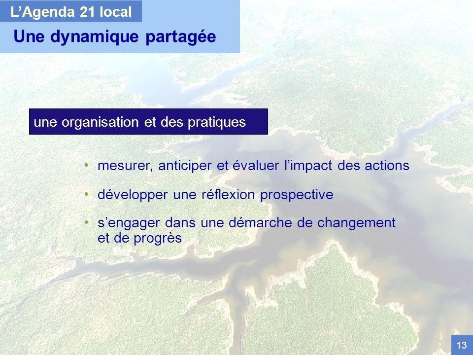 13 Une dynamique partagée LAgenda 21 local mesurer, anticiper et évaluer limpact des actions développer une réflexion prospective sengager dans une démarche de changement et de progrès une organisation et des pratiques