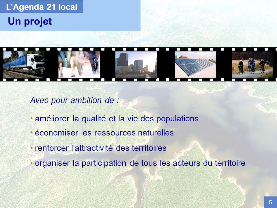 5 Un projet Avec pour ambition de : améliorer la qualité et la vie des populations économiser les ressources naturelles renforcer lattractivité des territoires organiser la participation de tous les acteurs du territoire LAgenda 21 local