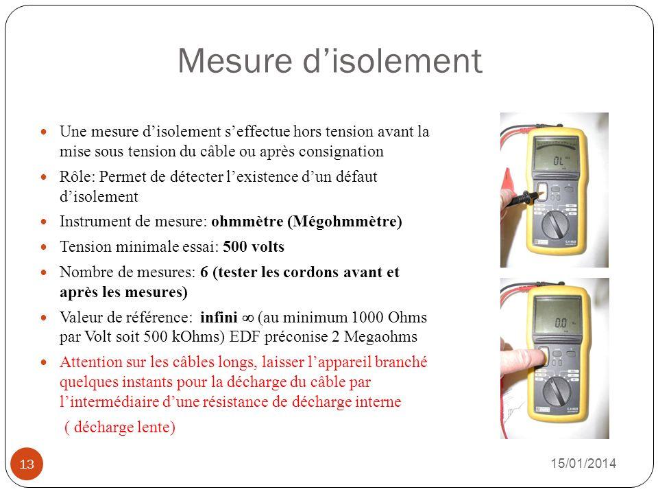 Mesure disolement Une mesure disolement seffectue hors tension avant la mise sous tension du câble ou après consignation Rôle: Permet de détecter lexi