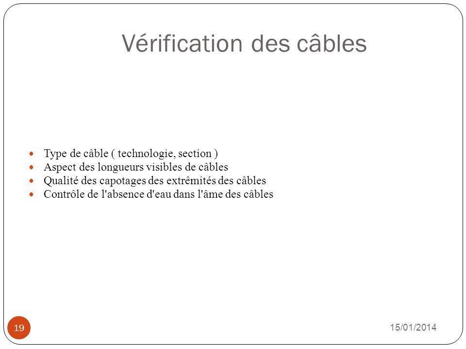 Vérification des câbles 15/01/2014 19 Type de câble ( technologie, section ) Aspect des longueurs visibles de câbles Qualité des capotages des extrêmi