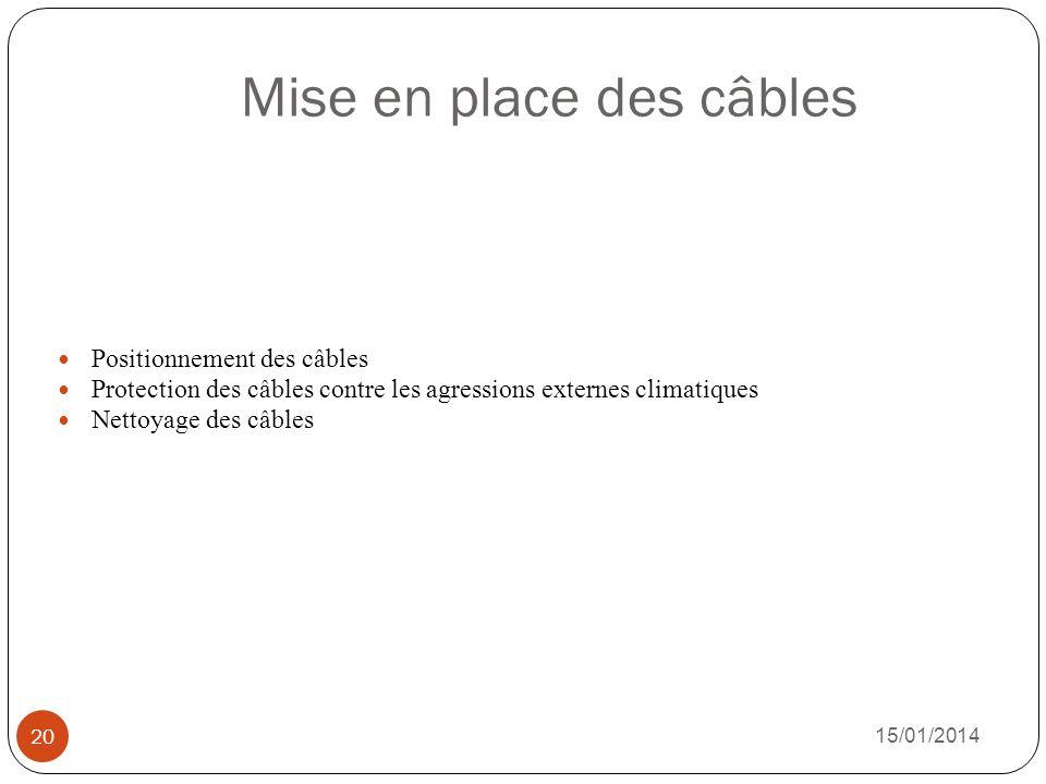 Mise en place des câbles 15/01/2014 20 Positionnement des câbles Protection des câbles contre les agressions externes climatiques Nettoyage des câbles