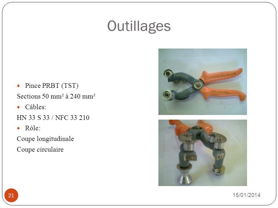 Outillages Pince PRBT (TST) Sections 50 mm² à 240 mm² Câbles: HN 33 S 33 / NFC 33 210 Rôle: Coupe longitudinale Coupe circulaire 15/01/2014 21