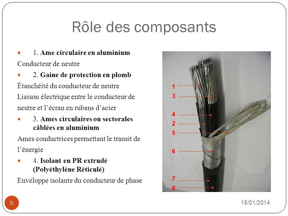 Rôle des composants 1. Ame circulaire en aluminium Conducteur de neutre 2. Gaine de protection en plomb Étanchéité du conducteur de neutre Liaison éle