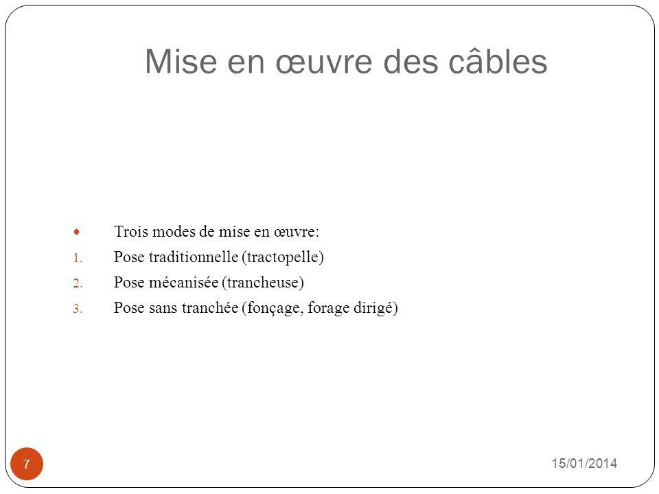 Mise en œuvre des câbles 15/01/2014 7 Trois modes de mise en œuvre: 1. Pose traditionnelle (tractopelle) 2. Pose mécanisée (trancheuse) 3. Pose sans t