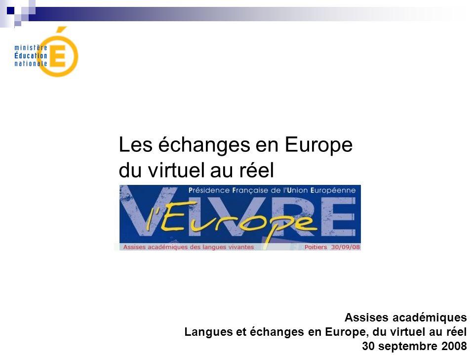 Les échanges en Europe du virtuel au réel Assises académiques Langues et échanges en Europe, du virtuel au réel 30 septembre 2008