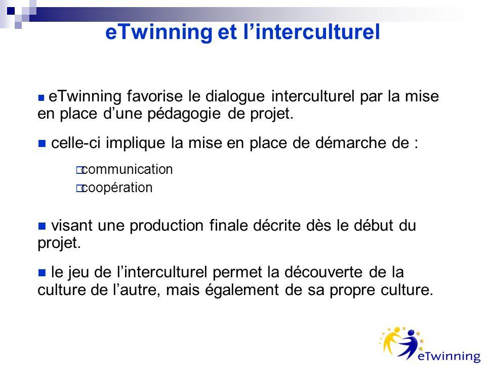 eTwinning et linterculturel eTwinning favorise le dialogue interculturel par la mise en place dune pédagogie de projet.
