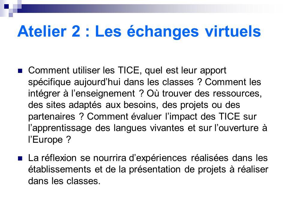 Atelier 2 : Les échanges virtuels Comment utiliser les TICE, quel est leur apport spécifique aujourdhui dans les classes .