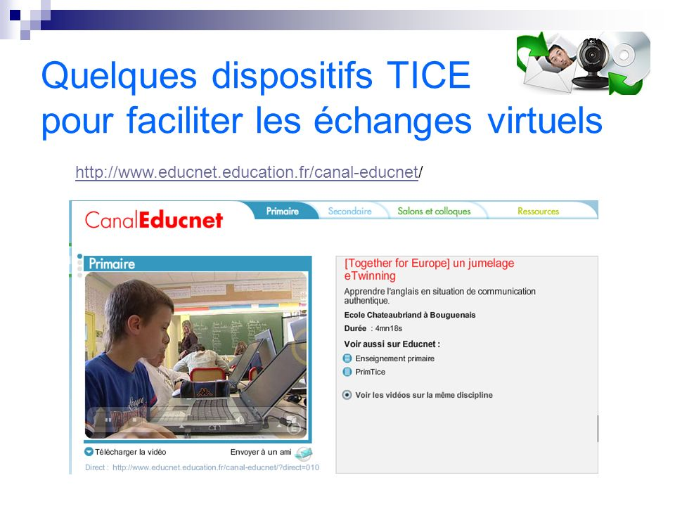 Quelques dispositifs TICE pour faciliter les échanges virtuels http://www.educnet.education.fr/canal-educnethttp://www.educnet.education.fr/canal-educnet/