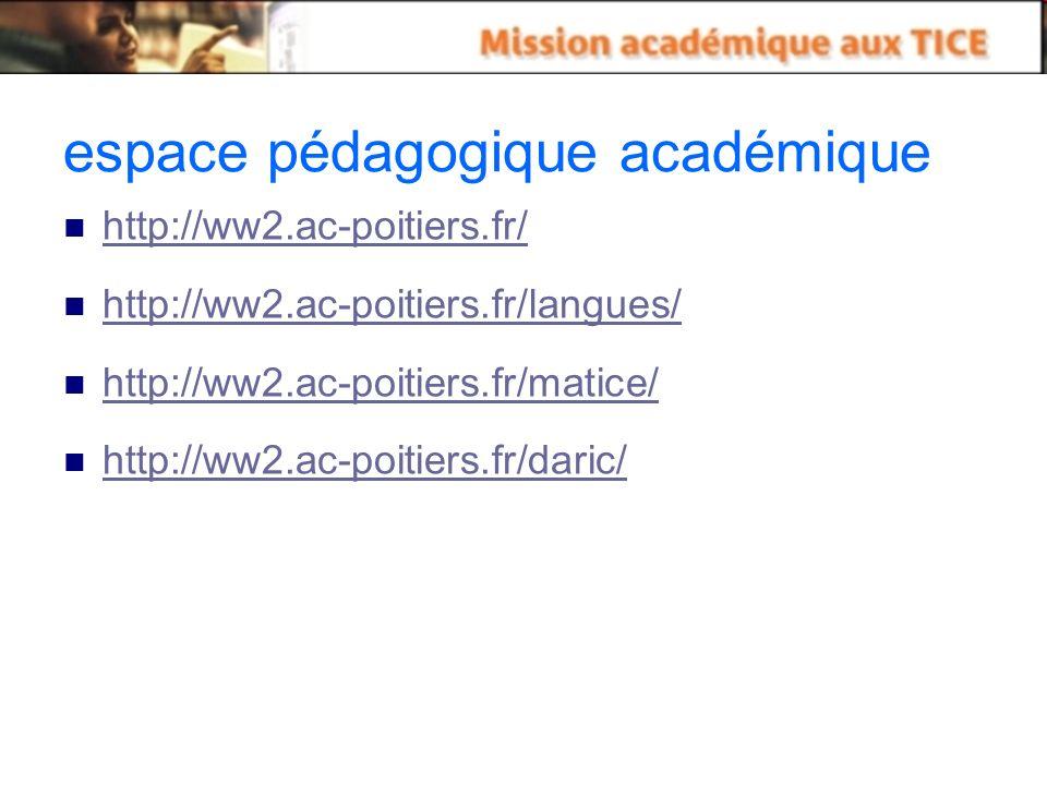 espace pédagogique académique http://ww2.ac-poitiers.fr/ http://ww2.ac-poitiers.fr/langues/ http://ww2.ac-poitiers.fr/matice/ http://ww2.ac-poitiers.fr/daric/