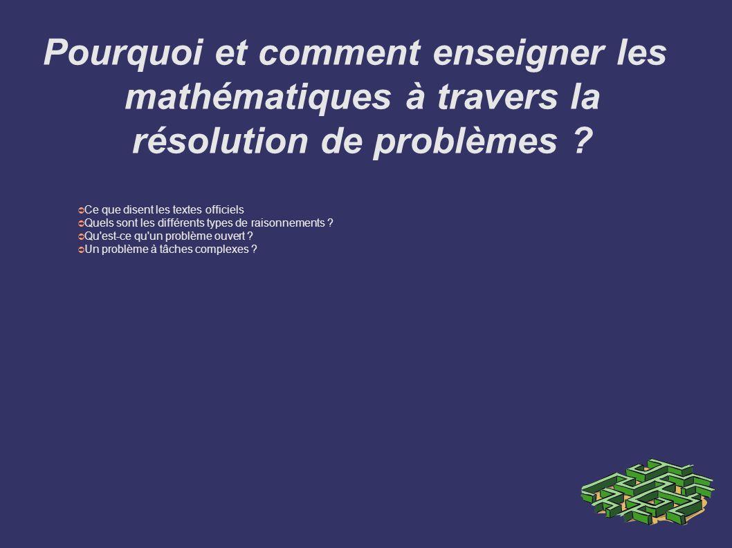 Pourquoi et comment enseigner les mathématiques à travers la résolution de problèmes ? Ce que disent les textes officiels Quels sont les différents ty