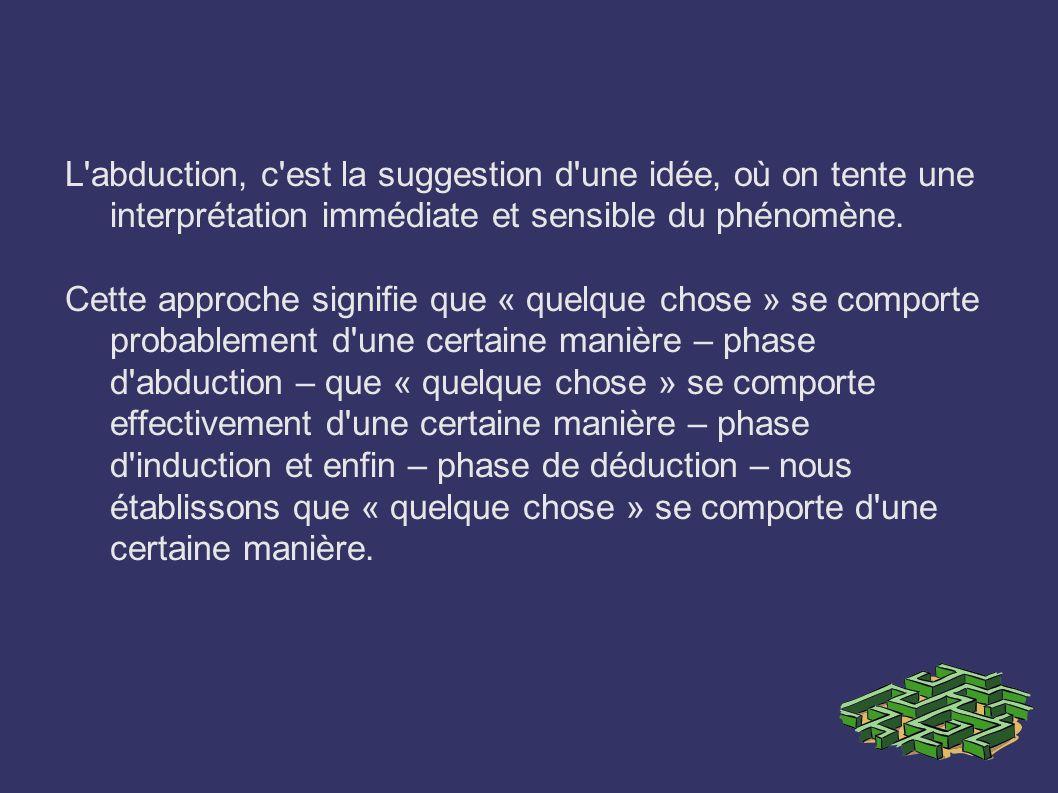 L'abduction, c'est la suggestion d'une idée, où on tente une interprétation immédiate et sensible du phénomène. Cette approche signifie que « quelque