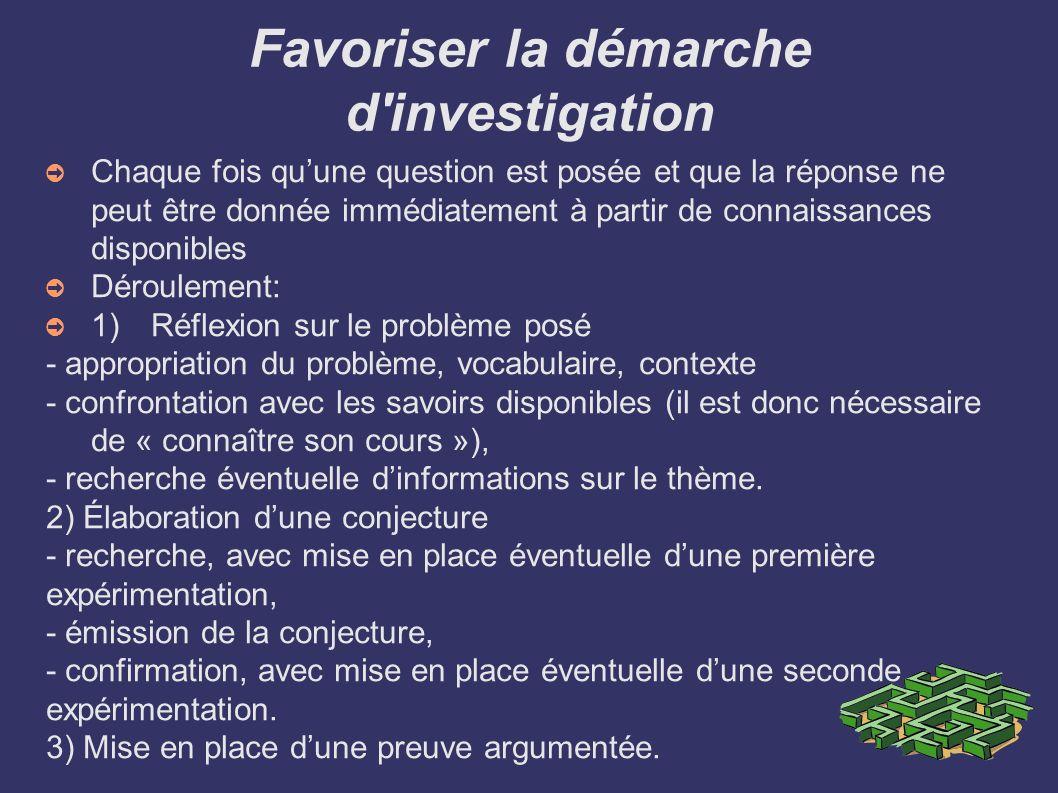 Favoriser la démarche d'investigation Chaque fois quune question est posée et que la réponse ne peut être donnée immédiatement à partir de connaissanc
