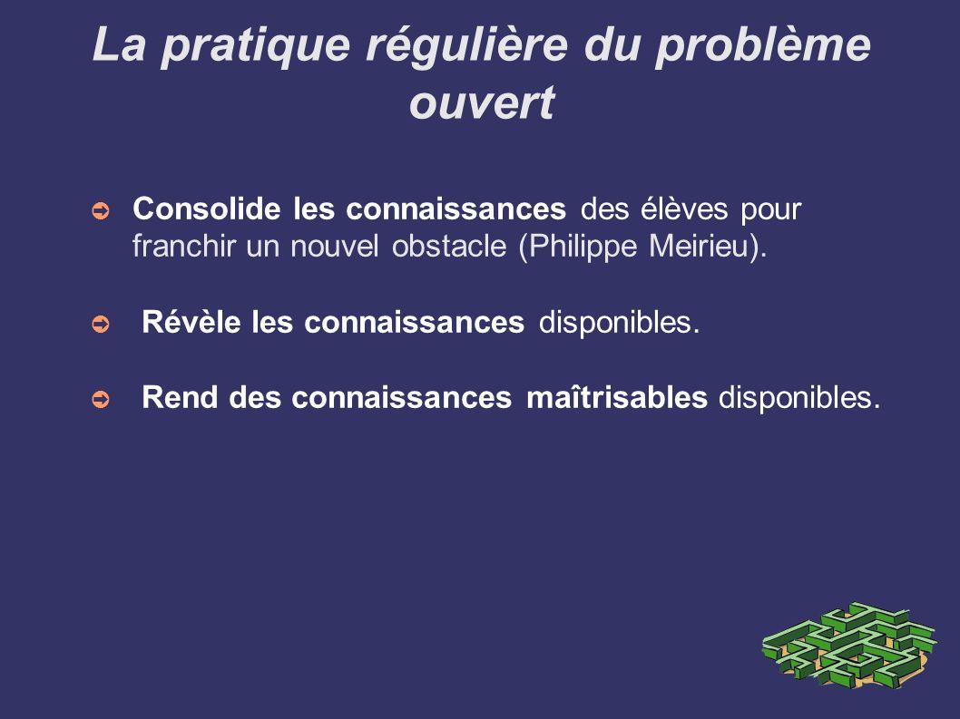 La pratique régulière du problème ouvert Consolide les connaissances des élèves pour franchir un nouvel obstacle (Philippe Meirieu). Révèle les connai
