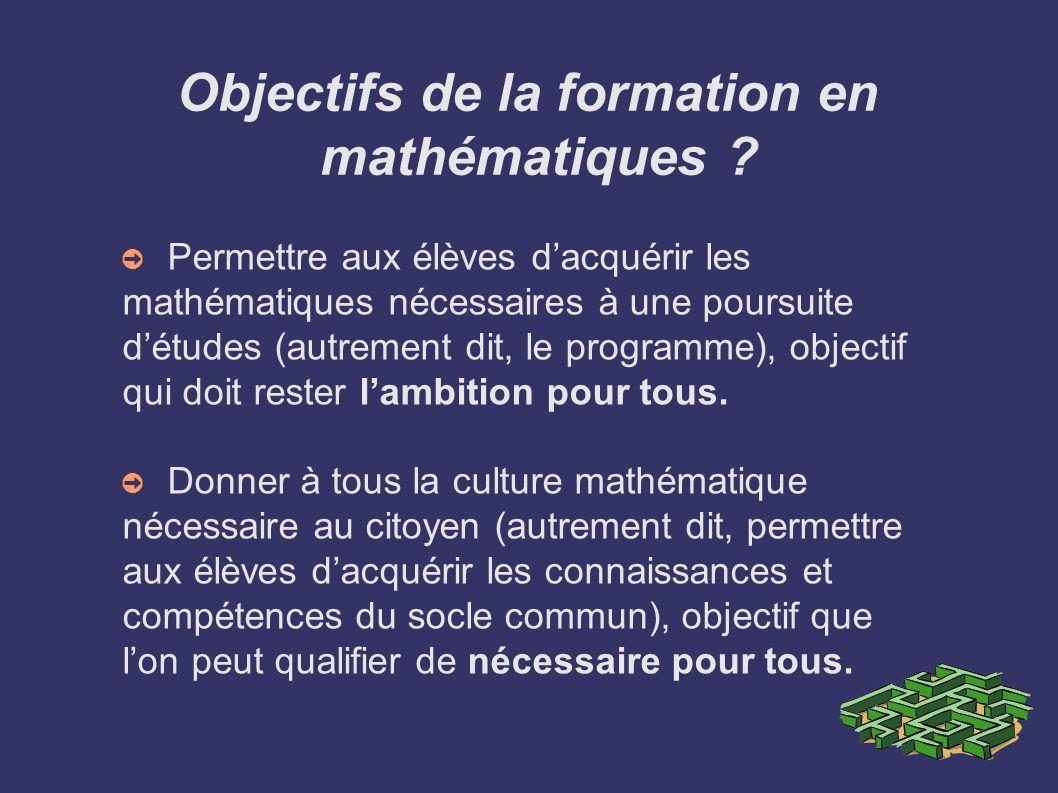 Objectifs de la formation en mathématiques ? Permettre aux élèves dacquérir les mathématiques nécessaires à une poursuite détudes (autrement dit, le p