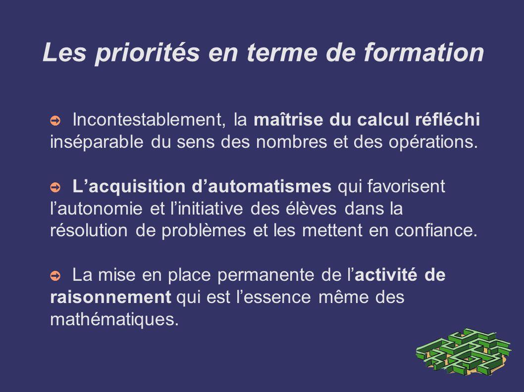 Les priorités en terme de formation Incontestablement, la maîtrise du calcul réfléchi inséparable du sens des nombres et des opérations. Lacquisition