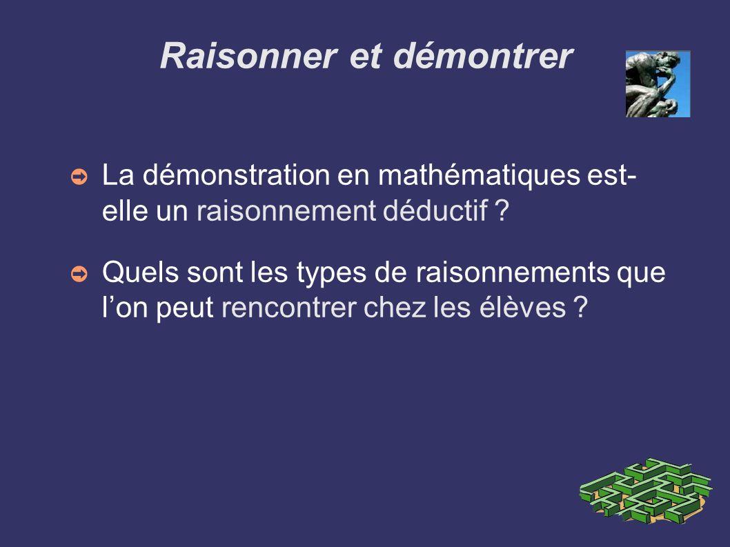 Raisonner et démontrer La démonstration en mathématiques est- elle un raisonnement déductif ? Quels sont les types de raisonnements que lon peut renco