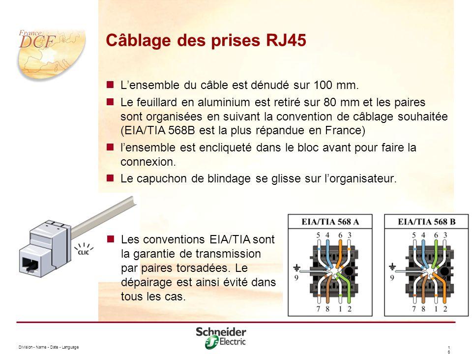 Division - Name - Date - Language 1616 Câblage des prises RJ45 Lensemble du câble est dénudé sur 100 mm.