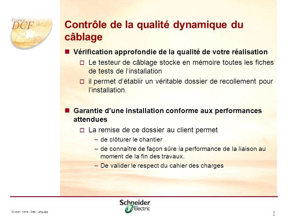 Division - Name - Date - Language 3232 Contrôle de la qualité dynamique du câblage Vérification approfondie de la qualité de votre réalisation Le test