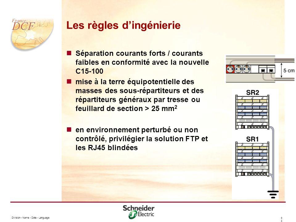 Division - Name - Date - Language 3434 Les règles dingénierie Séparation courants forts / courants faibles en conformité avec la nouvelle C15-100 mise