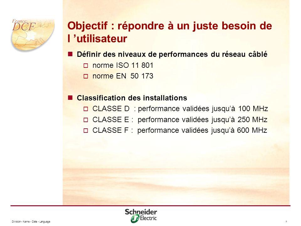 Division - Name - Date - Language 8 Objectif : répondre à un juste besoin de l utilisateur Exemple de performance classe D La norme ISO 11 801 impose pour la classe D un affaiblissement 20,4 dB à 100 MHz pour une liaison de 90 m.
