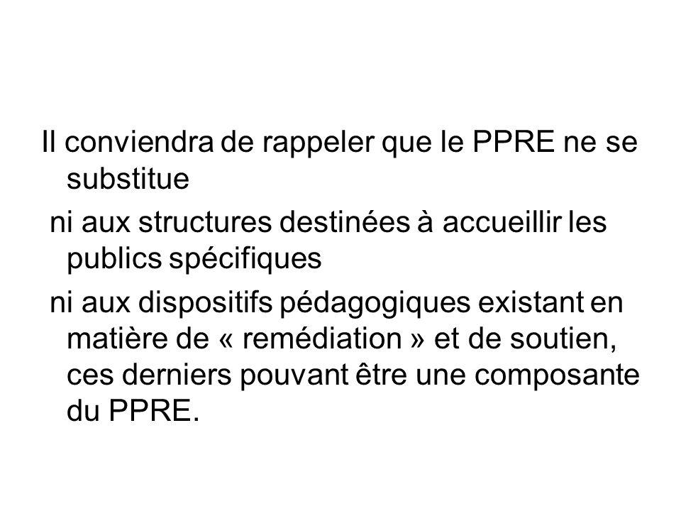 Il conviendra de rappeler que le PPRE ne se substitue ni aux structures destinées à accueillir les publics spécifiques ni aux dispositifs pédagogiques