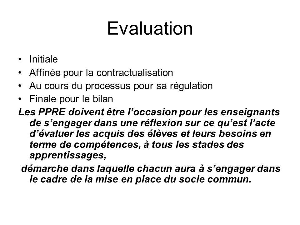 Evaluation Initiale Affinée pour la contractualisation Au cours du processus pour sa régulation Finale pour le bilan Les PPRE doivent être loccasion p