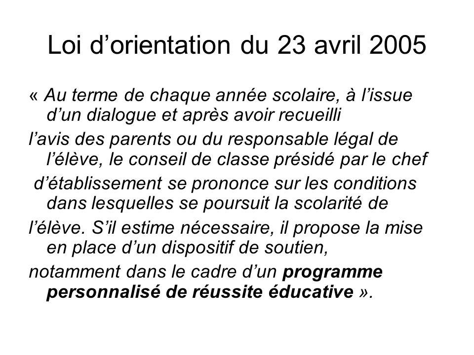 Loi dorientation du 23 avril 2005 « Au terme de chaque année scolaire, à lissue dun dialogue et après avoir recueilli lavis des parents ou du responsa