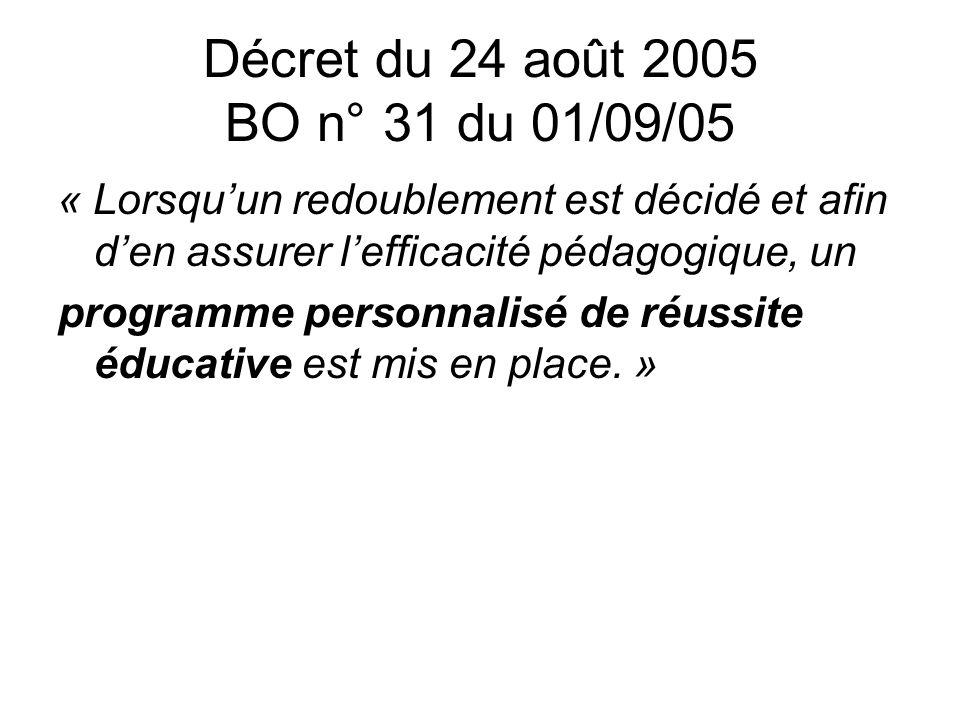 Décret du 24 août 2005 BO n° 31 du 01/09/05 « Lorsquun redoublement est décidé et afin den assurer lefficacité pédagogique, un programme personnalisé