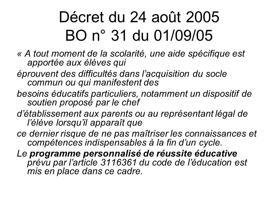Décret du 24 août 2005 BO n° 31 du 01/09/05 « A tout moment de la scolarité, une aide spécifique est apportée aux élèves qui éprouvent des difficultés