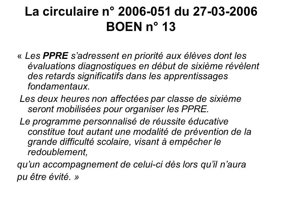 La circulaire n° 2006-051 du 27-03-2006 BOEN n° 13 « Les PPRE sadressent en priorité aux élèves dont les évaluations diagnostiques en début de sixième