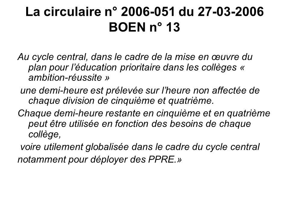 La circulaire n° 2006-051 du 27-03-2006 BOEN n° 13 Au cycle central, dans le cadre de la mise en œuvre du plan pour léducation prioritaire dans les co