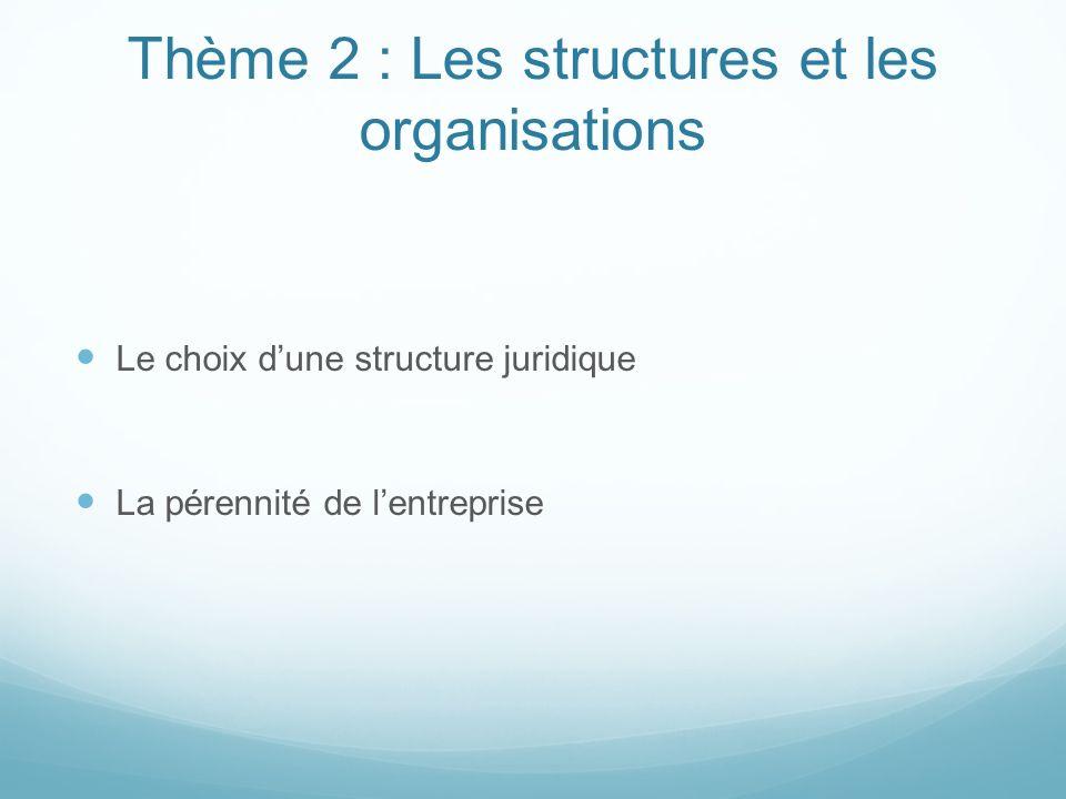 Thème 2 : Les structures et les organisations Le choix dune structure juridique La pérennité de lentreprise