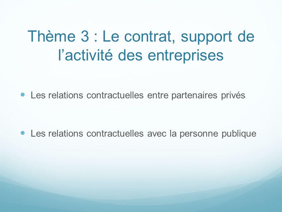 Thème 3 : Le contrat, support de lactivité des entreprises Les relations contractuelles entre partenaires privés Les relations contractuelles avec la