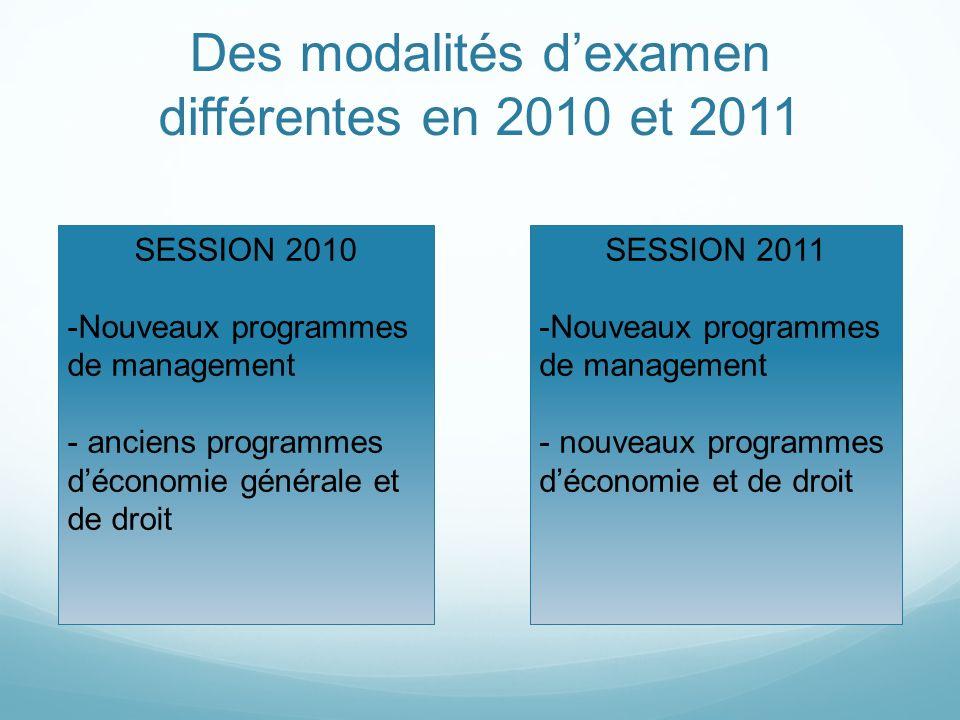 Des modalités dexamen différentes en 2010 et 2011 SESSION 2010 -Nouveaux programmes de management - anciens programmes déconomie générale et de droit