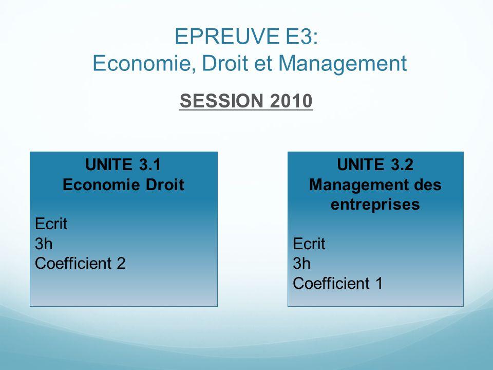 EPREUVE E3: Economie, Droit et Management SESSION 2010 UNITE 3.1 Economie Droit Ecrit 3h Coefficient 2 UNITE 3.2 Management des entreprises Ecrit 3h C