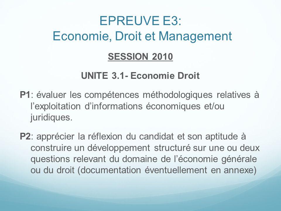 EPREUVE E3: Economie, Droit et Management SESSION 2010 UNITE 3.1- Economie Droit P1: évaluer les compétences méthodologiques relatives à lexploitation