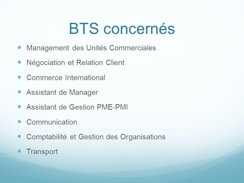 BTS concernés Management des Unités Commerciales Négociation et Relation Client Commerce International Assistant de Manager Assistant de Gestion PME-P