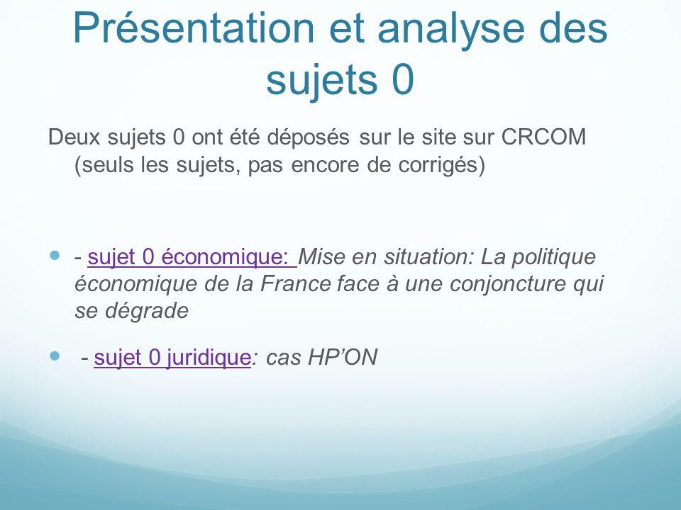 Présentation et analyse des sujets 0 Deux sujets 0 ont été déposés sur le site sur CRCOM (seuls les sujets, pas encore de corrigés) - sujet 0 économiq